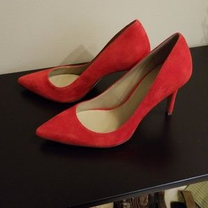 Red suede heels by Ann Taylor